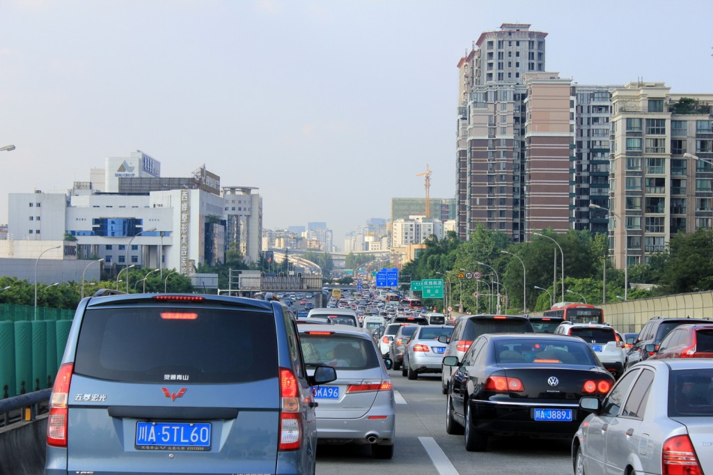 Stau bei der Einfahrt nach Chengdu